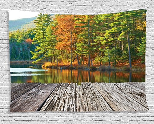 Ambesonne Apartment Decor Collection, Pond in National Forest with Freshening Fall Leaves and Still Lake Inspiration Photo, Bedroom Living Room Dorm Wall Hanging Tapestry, 80 X 60 Inches, Orange Green