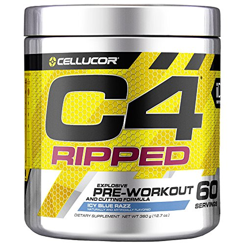 Cellucor C4 Ripped Pre Workout Powder, Thermogenic Metabolism Booster for Men & Women with Green Coffee Bean Extract, ICY Blue Razz, 60 Servings