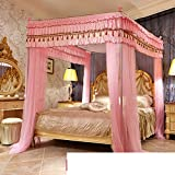 SIOFSVDFDFASDD Princess bed canopy,Square netting curtains four corners enhanced tactical mosquito net european style home mosquito net palace wind retractable double meter-B Queen1