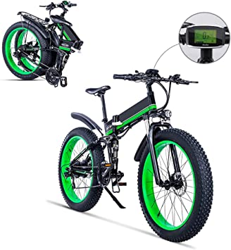FJNS Bici Eléctrica Plegable 26 Pulgadas 4.0 Neumático Gordo, 21 ...