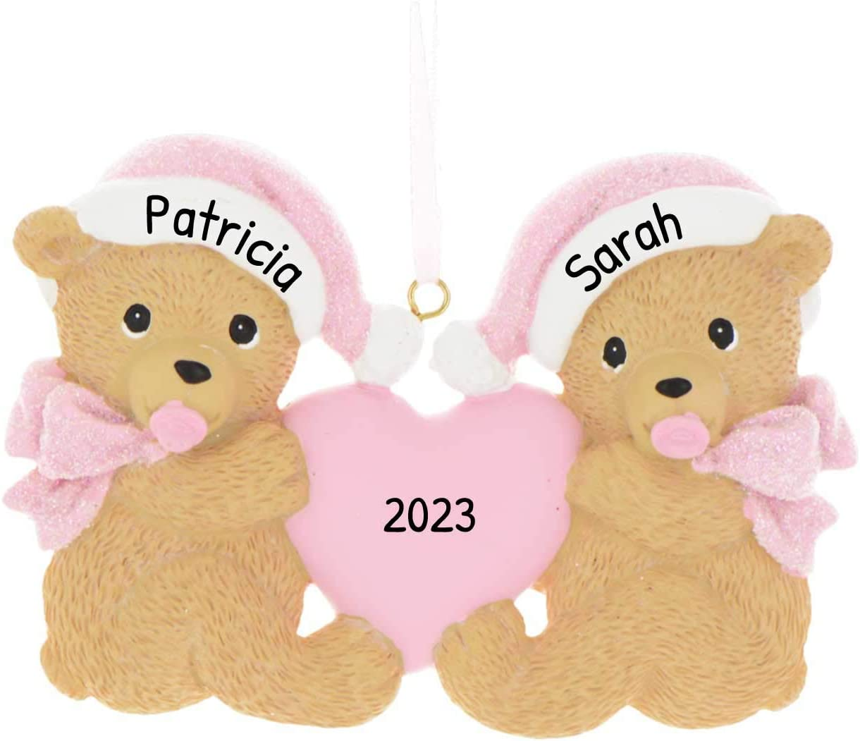 Personalized Twins Bears Baby's First Christmas Tree Ornament 2020 - Same Born Teddy Pacifier Glitter Hat Ribbon Hold Heart 1st Girl Miracle New Mom Grandkid - Free Customization (Pink)