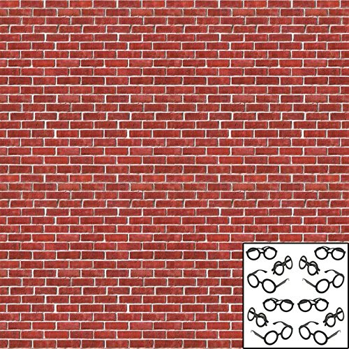 Brick Wall Backdrop (30 ft Long x 4 ft high) - Plus Bonus Wizard Glasses (12 Count) for Photo Booth, Classroom Decoration, or Birthday Party by Live It Up! Party Supplies
