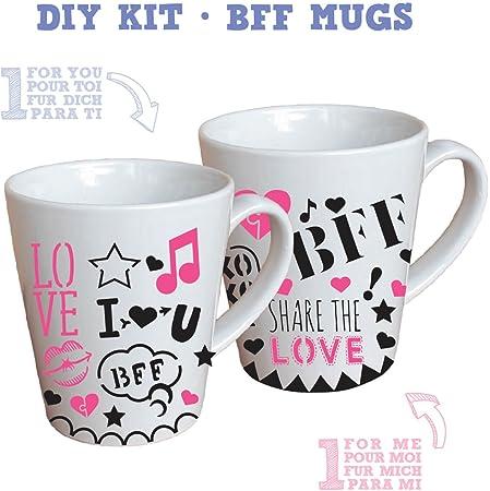 BmyBff Best Friends Gift Craft Kit. Haz el Kit de fabricación de Tazas Best Friends Mejor Amigo/Taza del Mejor Amigo Gran Regalo para niñas 8 años (Incluye 2 Tazas para Decorar)