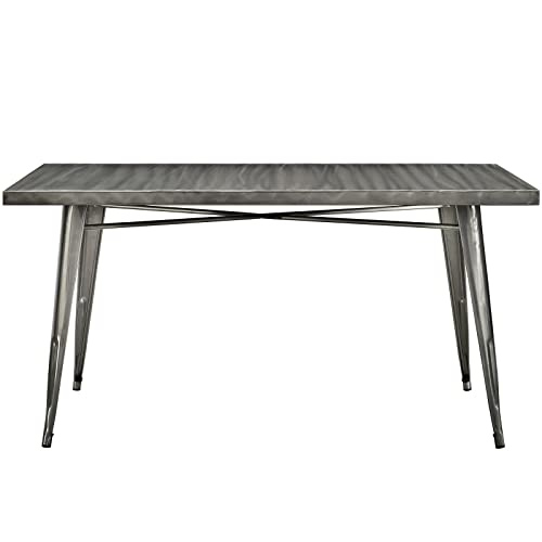 Modway Alacrity Industrial Modern Stainless Steel Metal Dining Table, 59.5 , Rectangle, Gunmetal