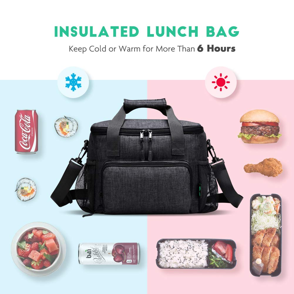 Black N12 Leakproof Insulated Lunch Bag by F40C4TMP Large Lunch Bag Soft Cooler Bag Adult Big Lunch Box for Men with Shoulder Strap Side Pocket for Outdoor Beach Party Picnic Hiking 15 Cans