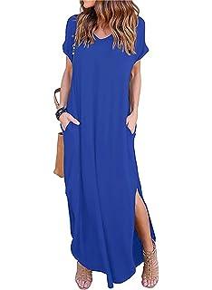 7fe7dca7fc Women s Short Sleeve V Neck Pocket Casual Side Split Beach Long Maxi Dress