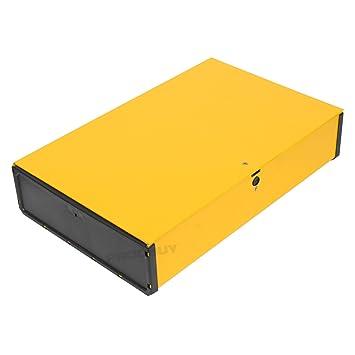 Caja de almacenaje de documentos, diseño de archivador, tamaño folio A4, 70 mm, sujeción de muelle, 3 unidades, color amarillo: Amazon.es: Oficina y ...