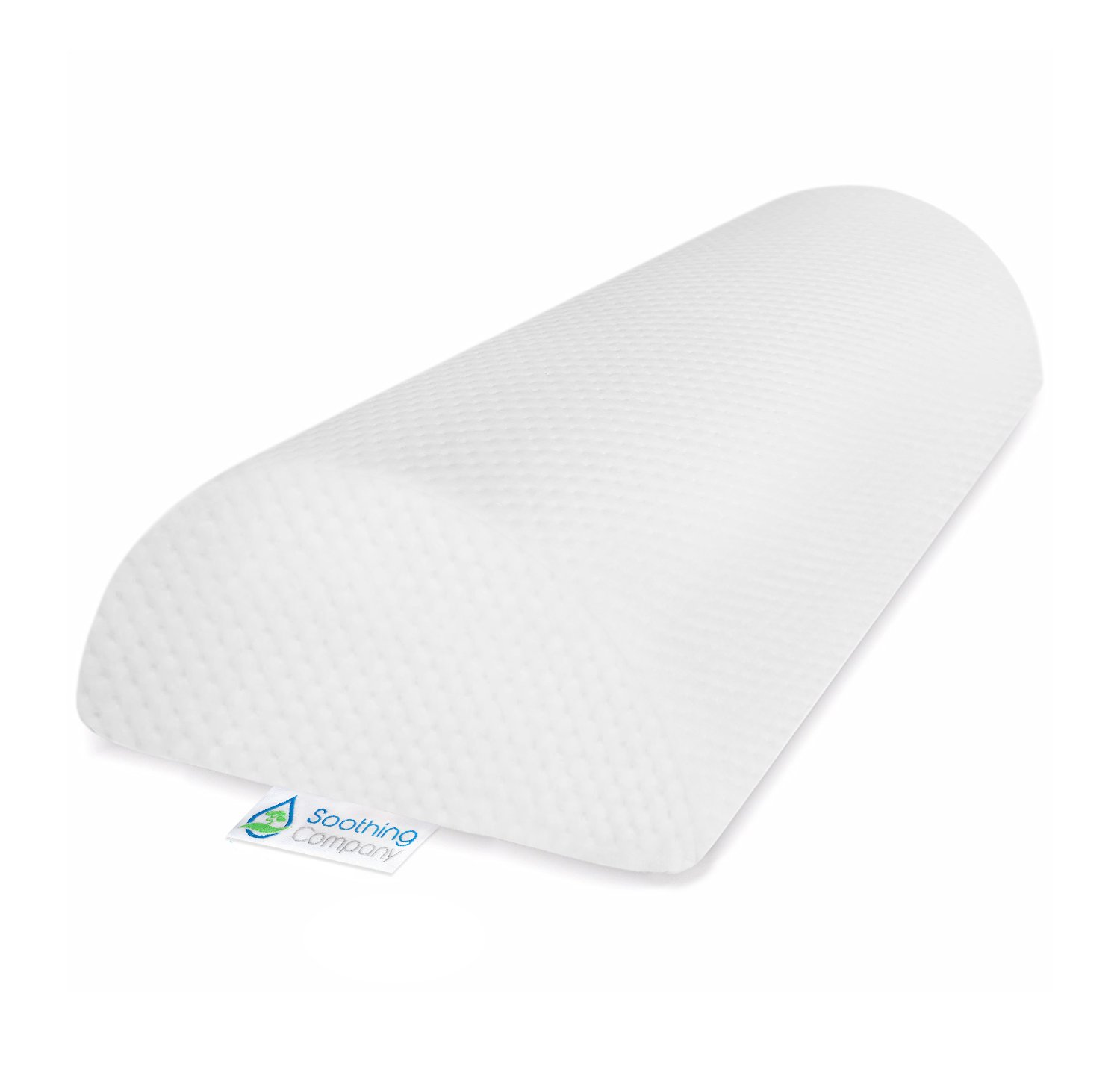 Soothing Company Half Moon Pillow Back Pain Relief - Bolster Knee Pillow Provides Support for Side and Back Sleeping - Memory Foam Leg Roll Pillow - Includes A Washable Organic Cotton Cover
