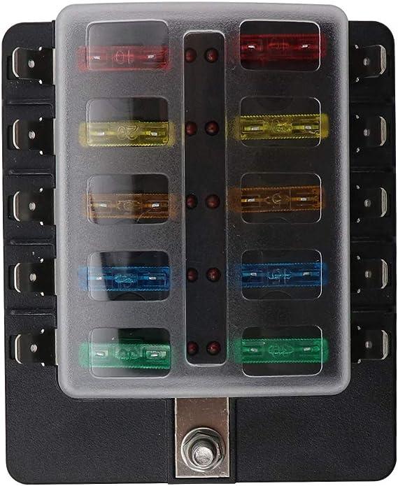 KKmoon Caja de Fusibles 10 Vías Portafusibles con Lámpara de Alerta LED Kit para Coche Barco 12V 24V: Amazon.es: Electrónica