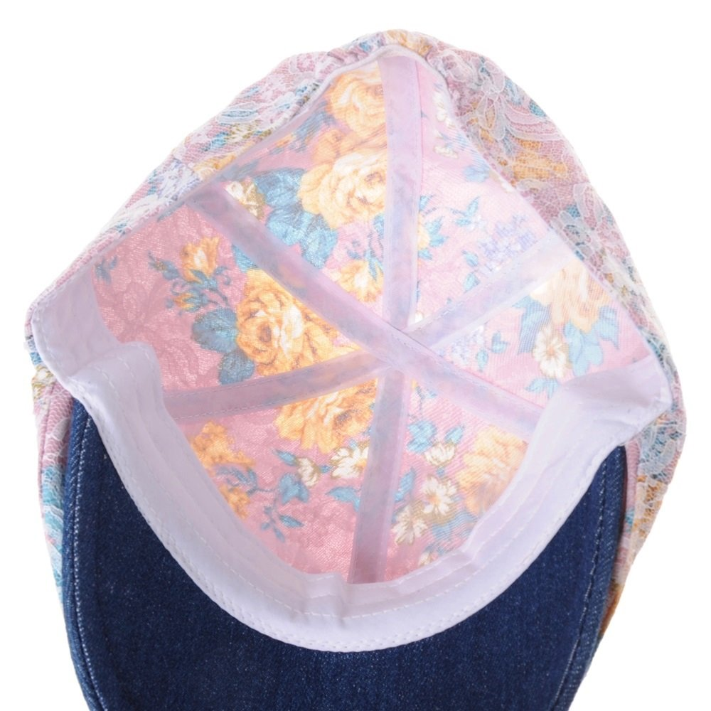 WITHMOONS Sombreros Gorras Boinas Bombines Floral Pattern Lace Crochet  Newsboy Hat Flat Cap SL3650 (Pink)  Amazon.es  Ropa y accesorios e1e40a91f91