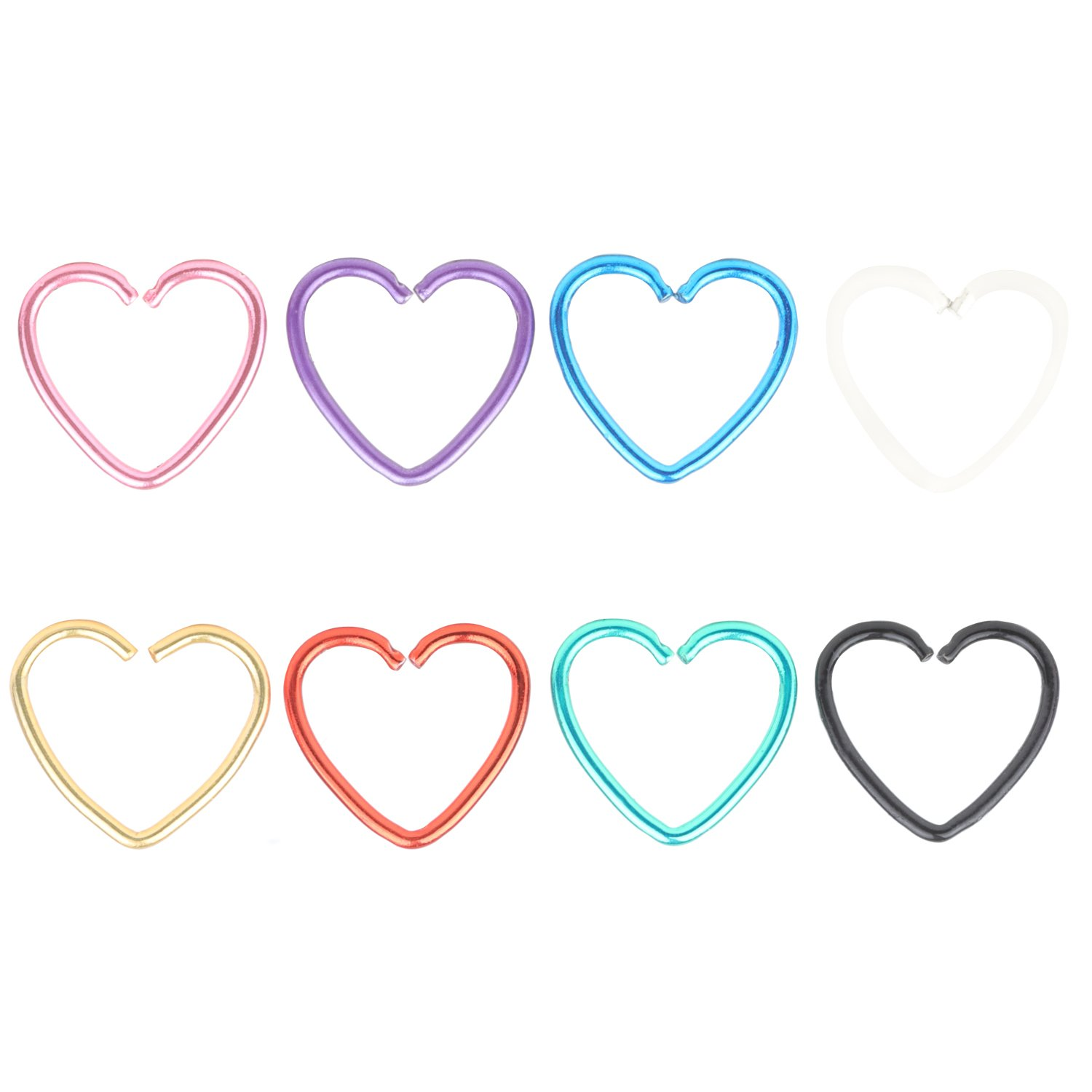DRW 8pcs 20G Stainless Steel Tiny Niobium Heart Captive Ring Daith Ear Cartilage Earring Rook Tragus Helix Piercing Nose Ring Nose Hoop