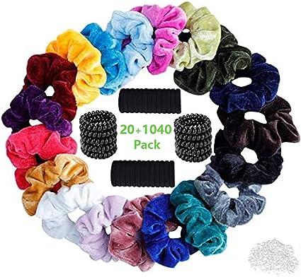 Velvet Elástico Hair Scrunchies,20 Piezas Scrunchies Terciopelo,30 cintas elásticas negras para el cabello,mini gomas de 1000 piezas,10 cintas para el cabello en espiral,Para Mujeres Chica Niñas: Amazon.es: Belleza
