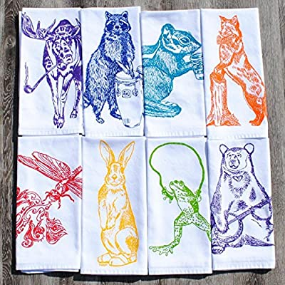 Animal Cloth Dinner Napkins Set of 8 Cotton Kitchen Table Linens