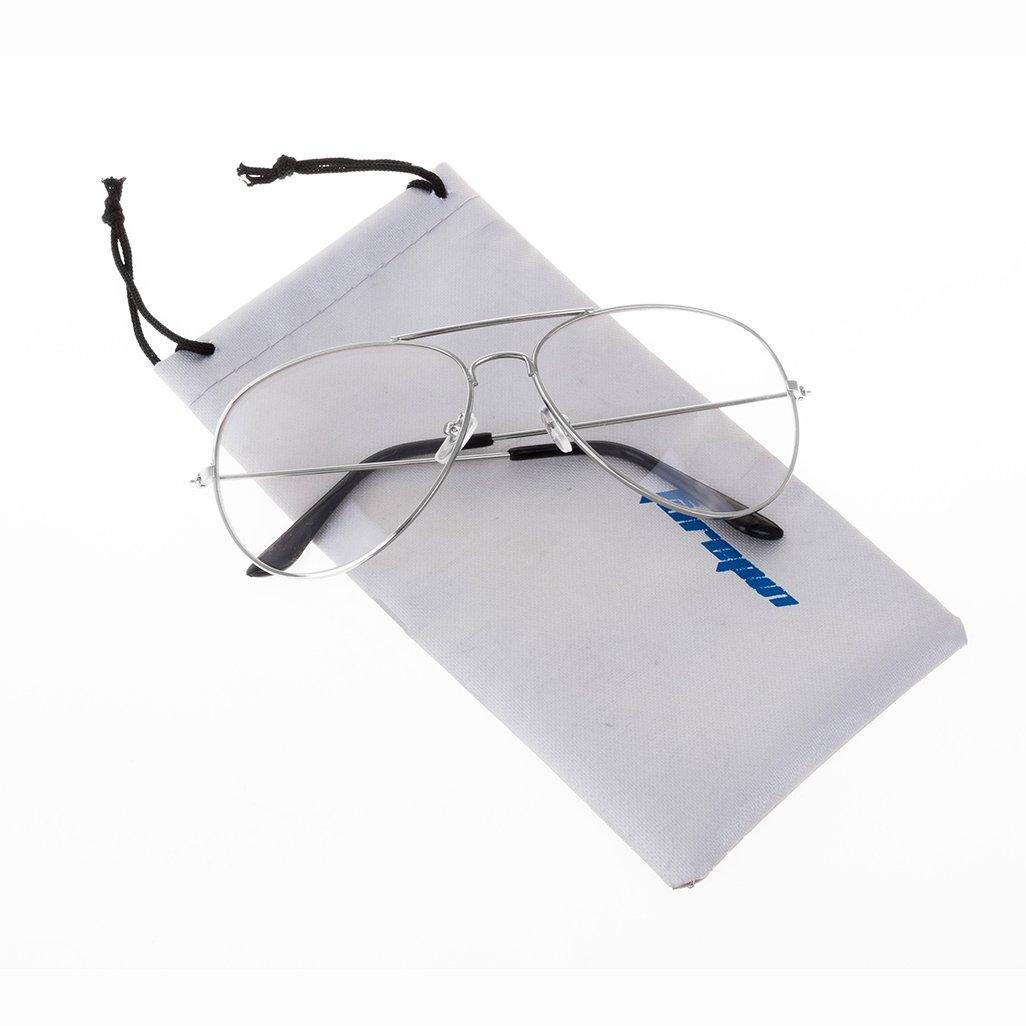 Forepin® Jahrgang Pilotflieger Brille Pilot Metallrahmen Sonnenbrille Klare Linse Gläser Pilot Metallrahmen brille