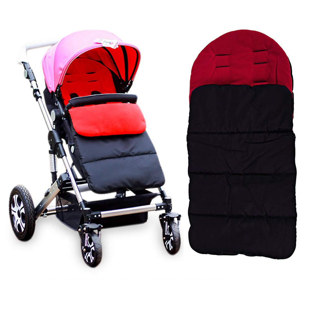 Kidshome Baby Sleeping Bag Universal 3 in 1 Stroller Annex Mat Footmuff Cover Stroller Bunting Bag Waterproof Windproof Cold-Proof Detachable(red)