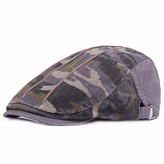 35fc46499aef7 Demarkt 1 Pcs Camo Unisexe Béret Coton Chapeau Réglable Vintage Flat Cap  pour Loisirs Sports Chapeau