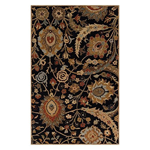 A154 Ancient Treasures (Surya Ancient Treasures A-154 Classic Hand Tufted 100% Semi-Worsted New Zealand Wool Coal Black 2'6 x 8' Traditional Runner by Surya)