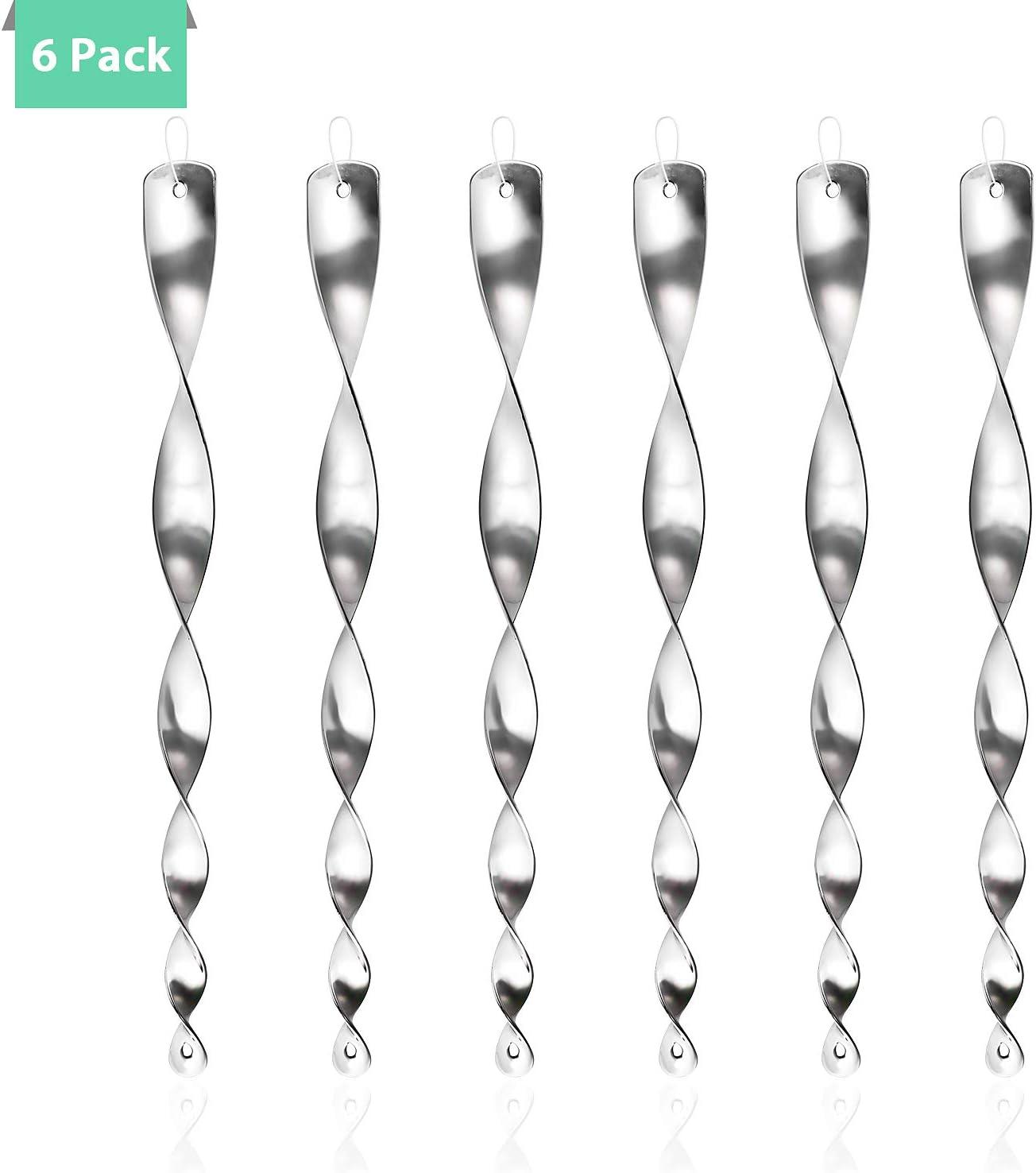 [Juego de 6] Espiral de Viento Plateado Reflectante para Control de Aves, 30 cm Varillas Reflectantes Repelentes de Pájaros, para Evitar Que Las Aves Protejan Flores y Jardines