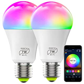 HaoDeng WiFi LED Smart Bulb 2Pack- Dimmable, Multicolor, Tunable White (Color Changing Disco Ball Lamp) - 7W A19 E27(60W Equivalent), Compatible with Alexa, Google Home Assistant and IFTTT