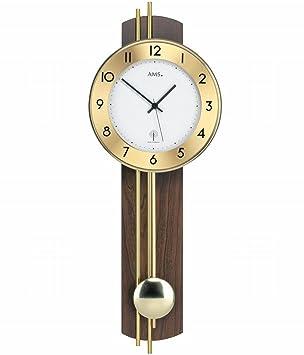 Reloj Analógico de pared controlado por radio AMS 5266/1 con dorso de colgante, madera de nogal (chapada); salón - Reloj de péndulo con tecnología ...