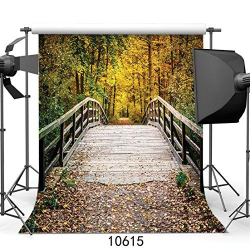 SJOLOON 10x10ft Autumn Backdrop Deciduous Bridge Photography Background Nature Screen Fallen Leaves Backdrop for Photoshoot Studio Props 10615