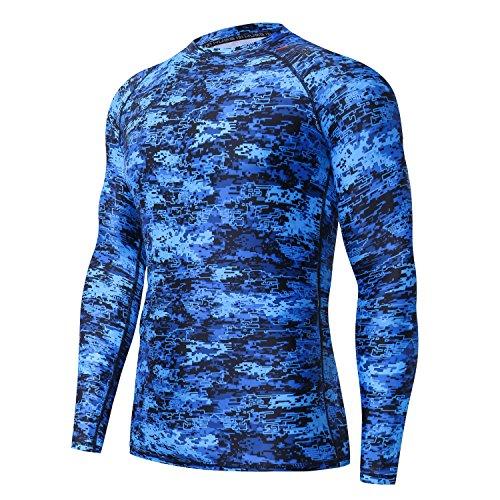 - HUGE SPORTS Men's UV Sun Protection UPF 50+ Full Digital Print Rash Guard Long Sleeves (Pixel Blue, 2XL)
