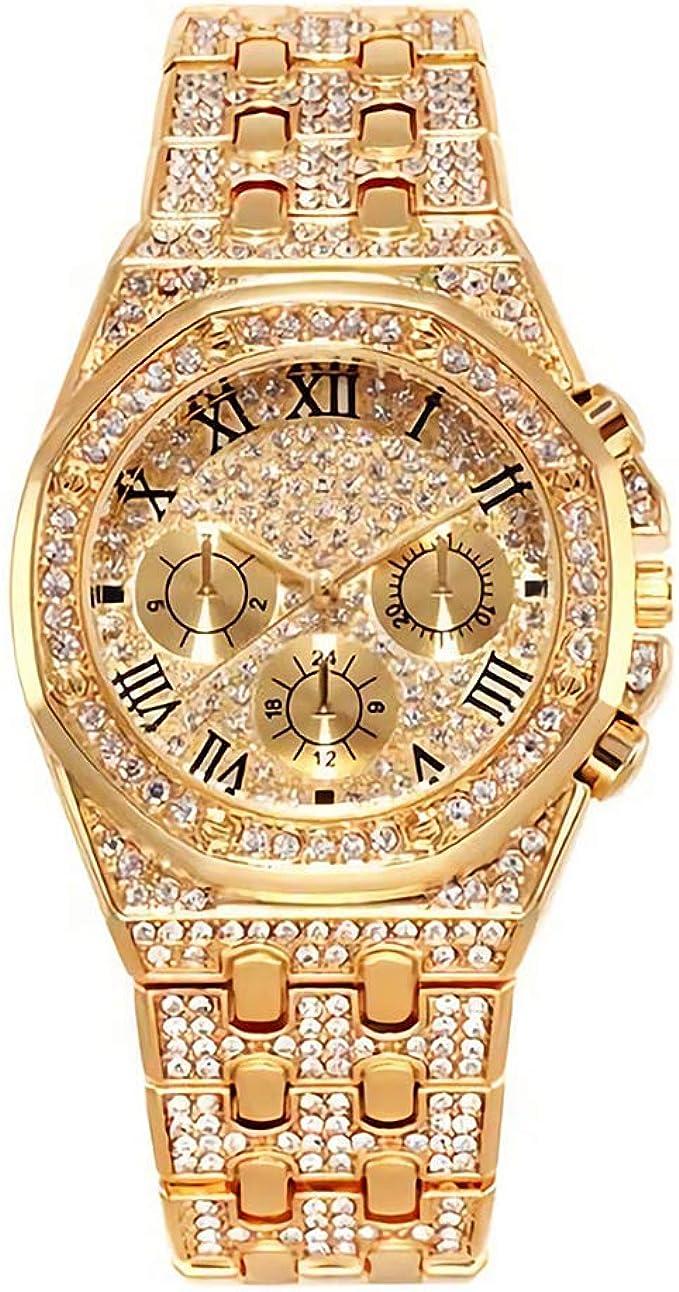 Reloj de Oro para Hombre con Reloj de Diamante para Hombre Relojes de Hip Hop - Unisexo Iced out Reloj Hombres Diamantes Plateados: Amazon.es: Relojes