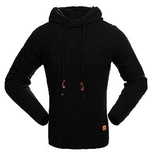 Jinshida Men's Knitted Pullover Hoodie Sweatshirt Black M