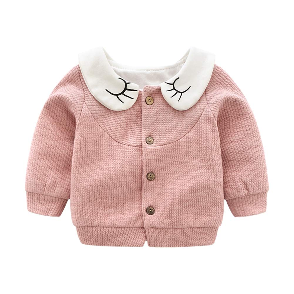Urmagic Baby Girl Cardigans Sweater,Newborn Baby Button Down Casual Solid Coat Long Sleeve Cotton Warm Knitwear Autumn Winter Outwear Clothes