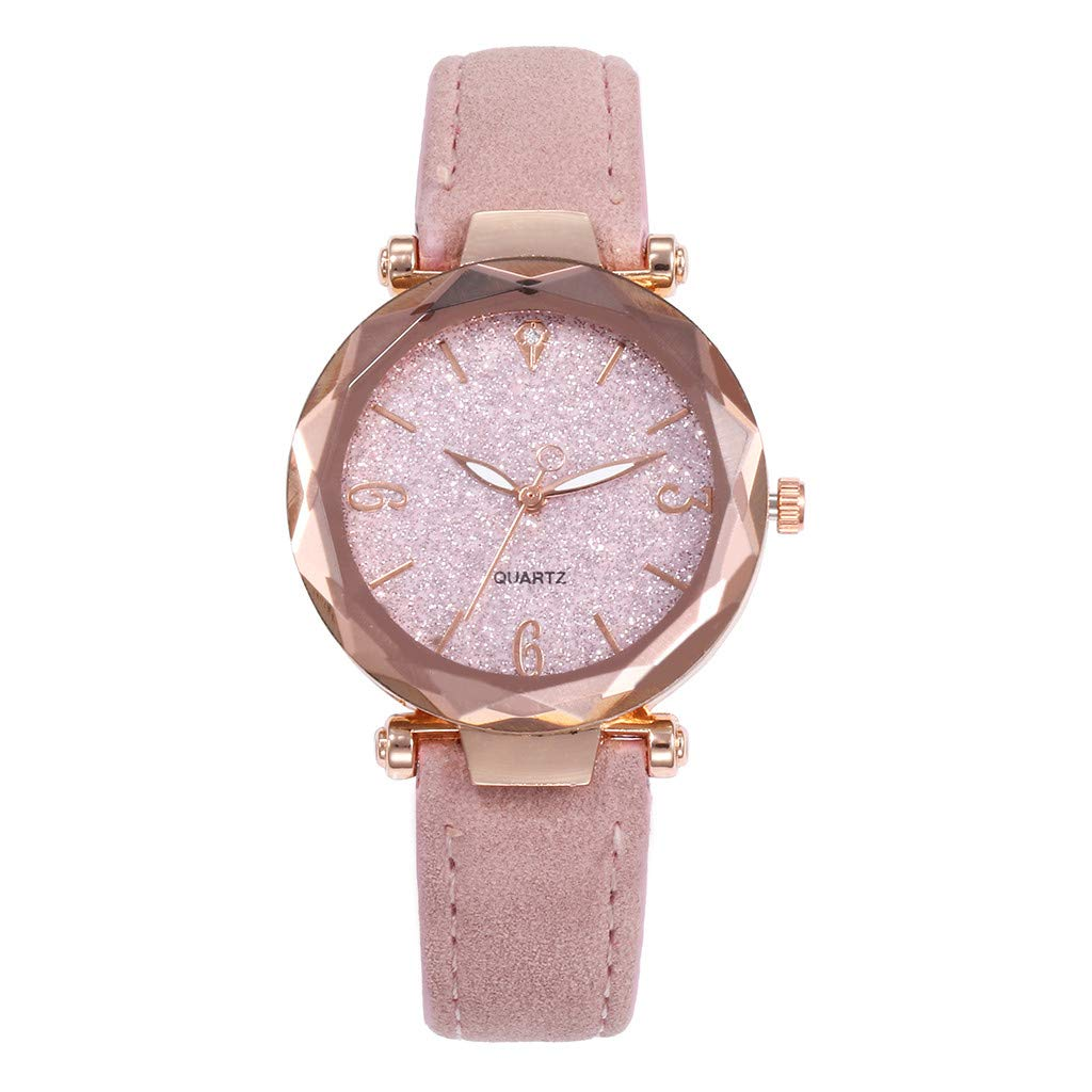 Starry Sky Watch for Women, Crystal Dial Analog Quartz Wristwtach with Suede Pu Leather Band BravetoshopV435RU(Pink)