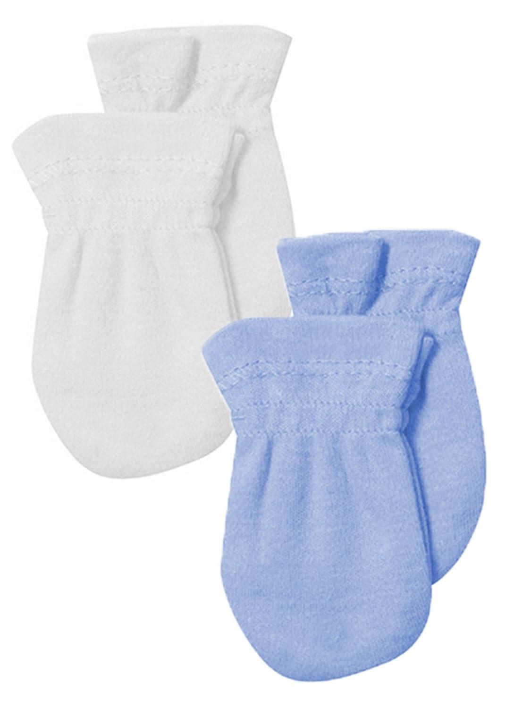 Manoplas antiarañazos para bebé (2 pares) azul blanco 100 % algodón King Bear