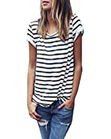 Internet Women Casual Stripe Short Sleeve Loose T-shirt Tops Blouse