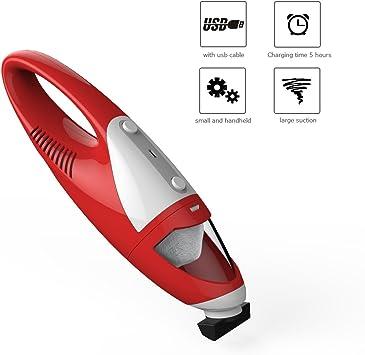 EVERTOP Aspirador Portatil Recargable Coche Aspiradora utilissimo con boquilla aspiradora para coche, Rojo: Amazon.es: Hogar