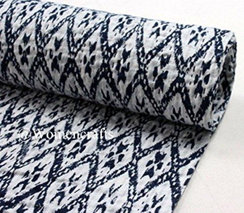 インドKanthaキルトリバーシブルスローベッドスプレッドヴィンテージIkat印刷ベッドカバー B078YMHXDF