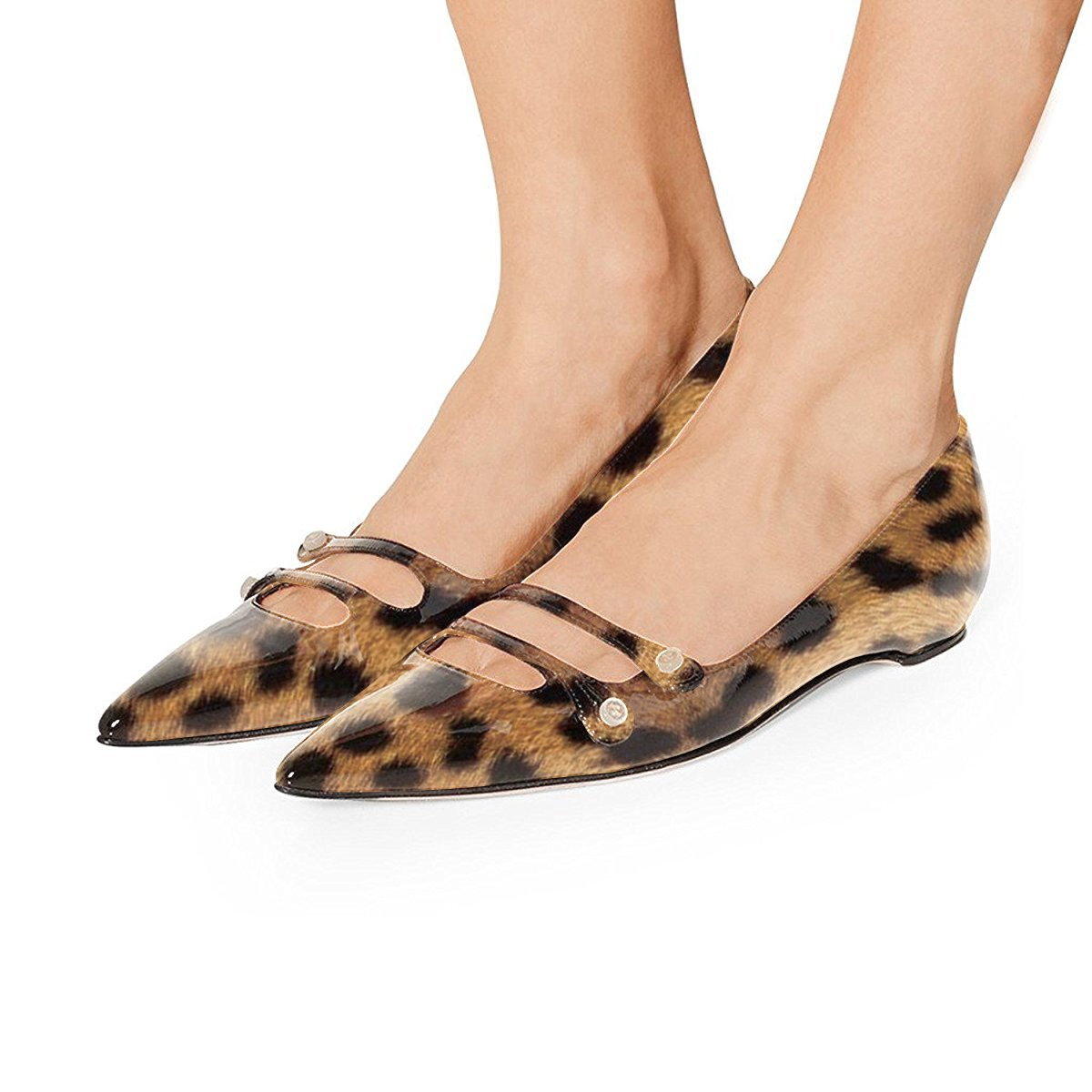 YDN Women Pointed Toe Slip on Flats Hidden Low Heels Pumps Comfort Shoes with Straps B07FYC71B6 7 M US|Leopard Printing
