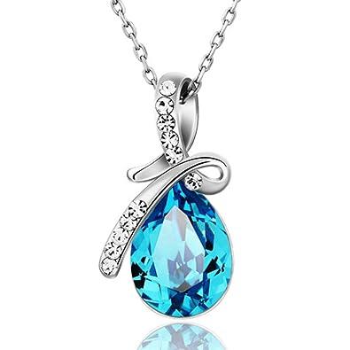 Ananth Bijoux Swarovski Elements Goutte Bleu Cristal Pendentif Collier pour  Femme Cadeau pour Saint Valentin b6153a0923a7