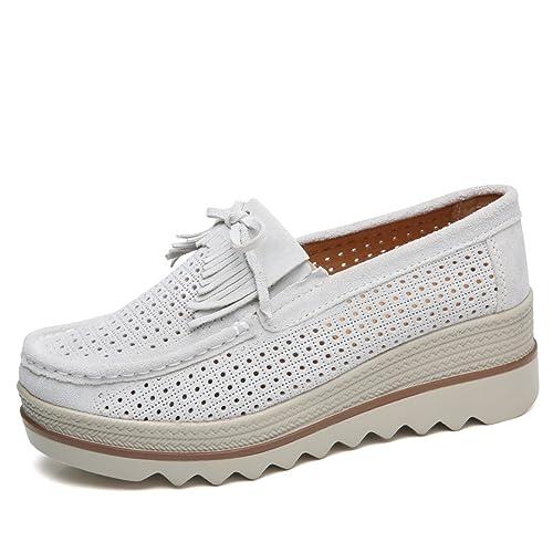 5fa309a2912 Z.SUO Mocassini Donna in Pelle Scamosciata Moda comode Loafers Scarpe da  Guida(35
