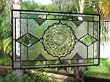 Stained Glass Panel, Vintage Depression Glass Plate Window Transom, Antique Fostoria American Dish Stained Glass Window Valance, Handmade