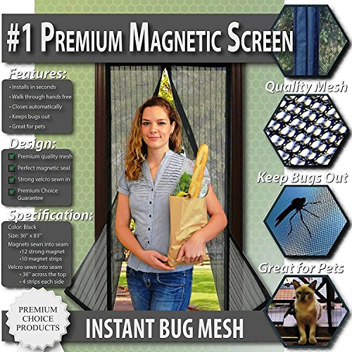 Premium Magnetic Screen Door - KEEP BUGS OUT, Let Fresh Air In. Instant Mosquito, Insect and Fly...