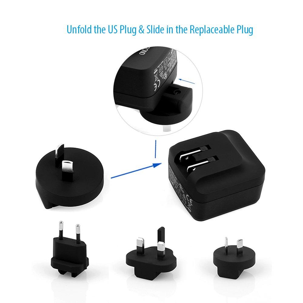 TROND G4U Adaptador cargador de pared USB con compatibilidad de enchufes internacional (4 puertosUSb), para cargar teléfonos inteligentes, ...