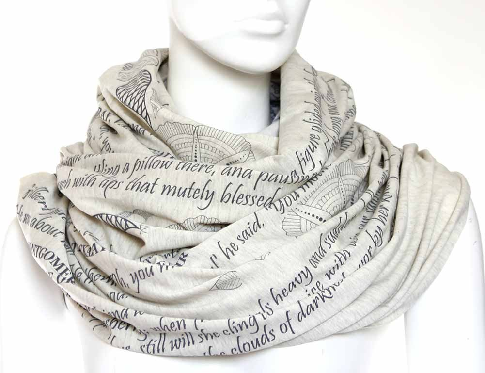 Mothers Day gifts Mothers Tribute Book Scarf with a literary quotes