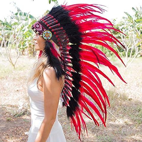 Novum Crafts Feather Headdress   Native American Indian Inspired   Red - Native American Indian Feathers