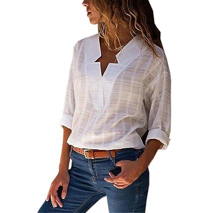 02192d00439c Hmlai Clearance Women Cotton Linen Shirt Star Shape V Neck Long Sleeve  Blouse Casual Loose Tops