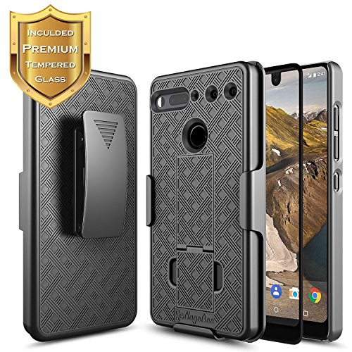 Essential Belt (Essential Phone PH-1 Case with [Full Coverage Tempered Glass Screen Protector] NageBee Combo Shell & Holster Case Super Slim Case w/ Built-In Kickstand [Swivel Belt Clip] For Essential Phone (Black))