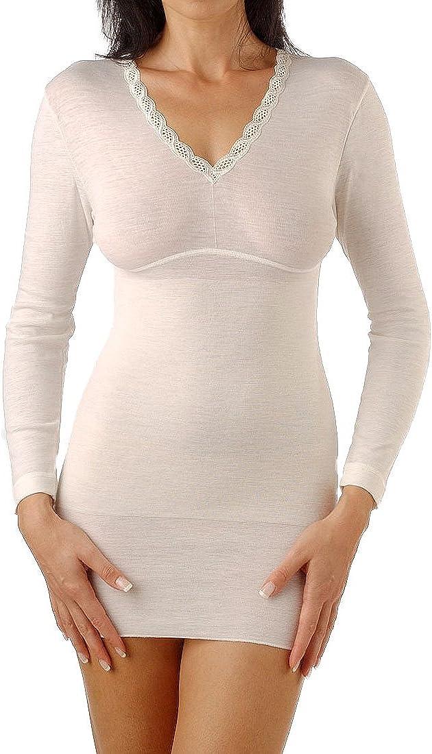 Relaxsan Ortopedica 2400 Maglia Termica Donna Manica Lunga Lana Cotone con Fascia Lombare vertebrale