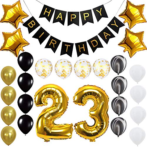 Happy 23rd Birthday Banner Balloons Set for 23 Years Old Birthday Party Decoration Supplies Gold Black]()