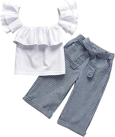 2PCS Toddler Kids Baby Girl Winter Clothes Ruffle T-Shirt Tops+Pants Outfits Set