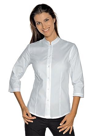 Isacco – Camisa elástica cuello mao manga 3/4 blanca blanco small: Amazon.es: Industria, empresas y ciencia