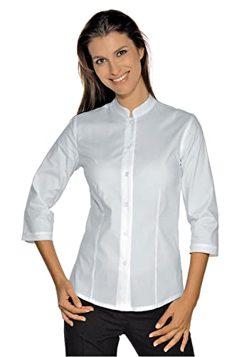 Isacco cuello-Mao-Camisa ajustada de manga 3/4, color blanco