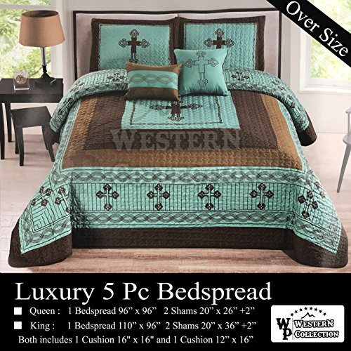 - Western Peak 5 Pc Western Texas Cross Lodge Barbed Wire Quilt Bedspread Shams Pillow Oversize Comforter (Turquoise, Queen)
